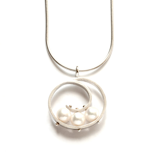 Medium Spiral Necklace with Pearls