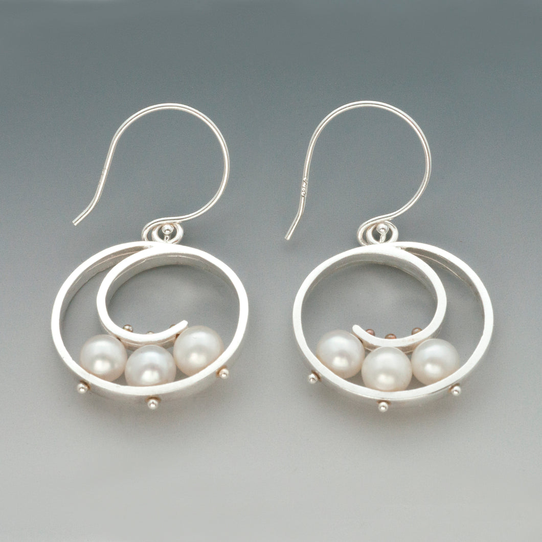 Medium Spiral Earrings with Pearls