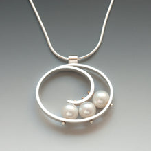 Large Spiral Necklace with Pearls QS28N