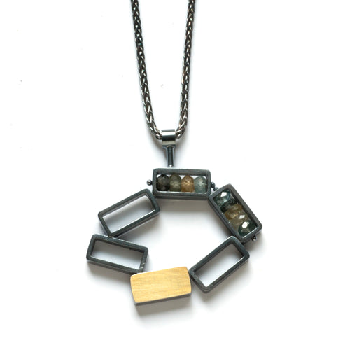 RJ16N - Six Rectangles Necklace - Circular