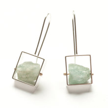 Rectangle Earrings with Chunky stones, French wire