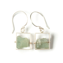Rectangle Earrings with Chunky stones, short dangle SRJ11SE
