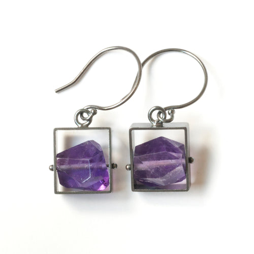Rectangle Earrings with Chunky stones, short dangle
