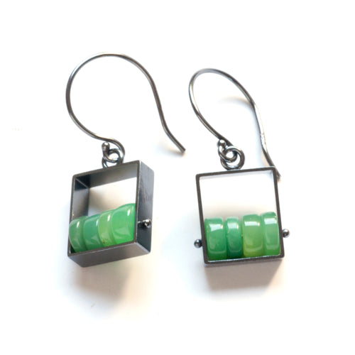 Rectangle Earrings with Chrysoprase Beads