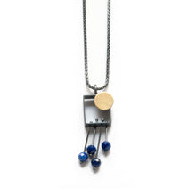 SRJ33N Rectangle Necklace with Dot and Fringe