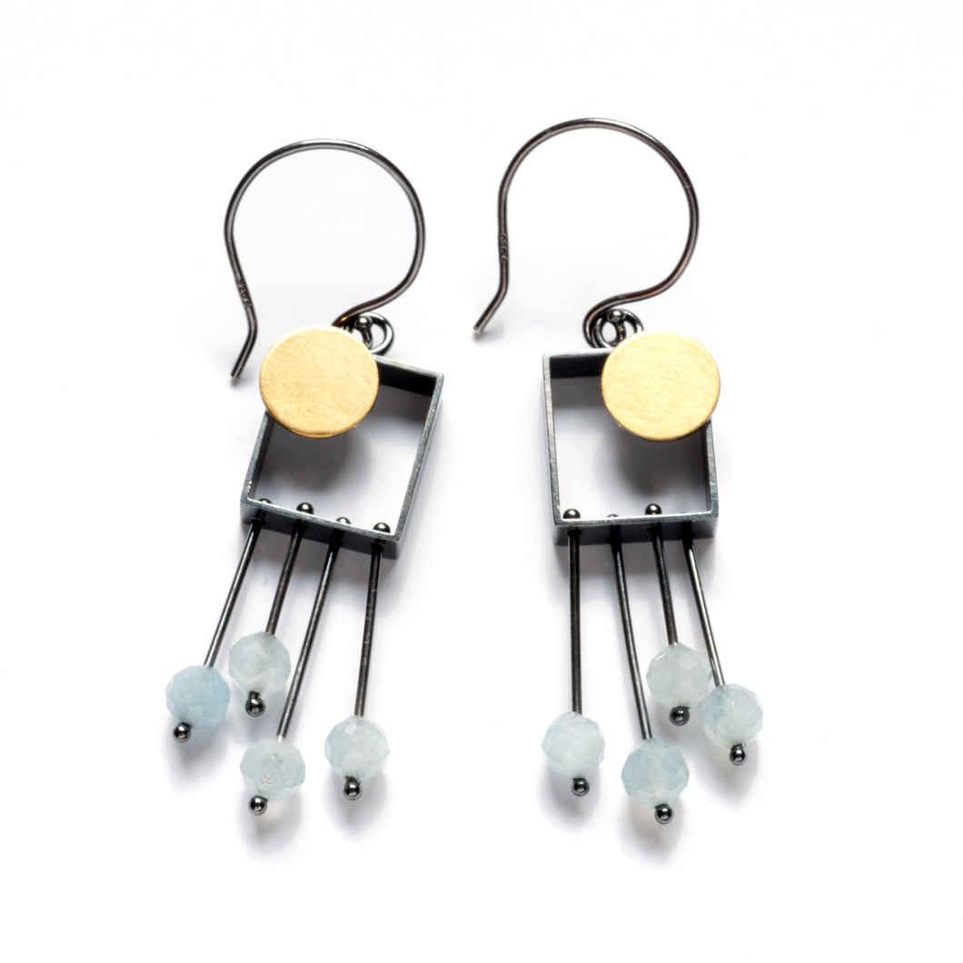 SRJ33SE Rectangle Earrings with Dot and Fringe