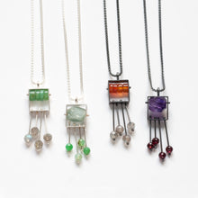 SRJ35N - Rectangle Necklace with top stone(s) and a fringe