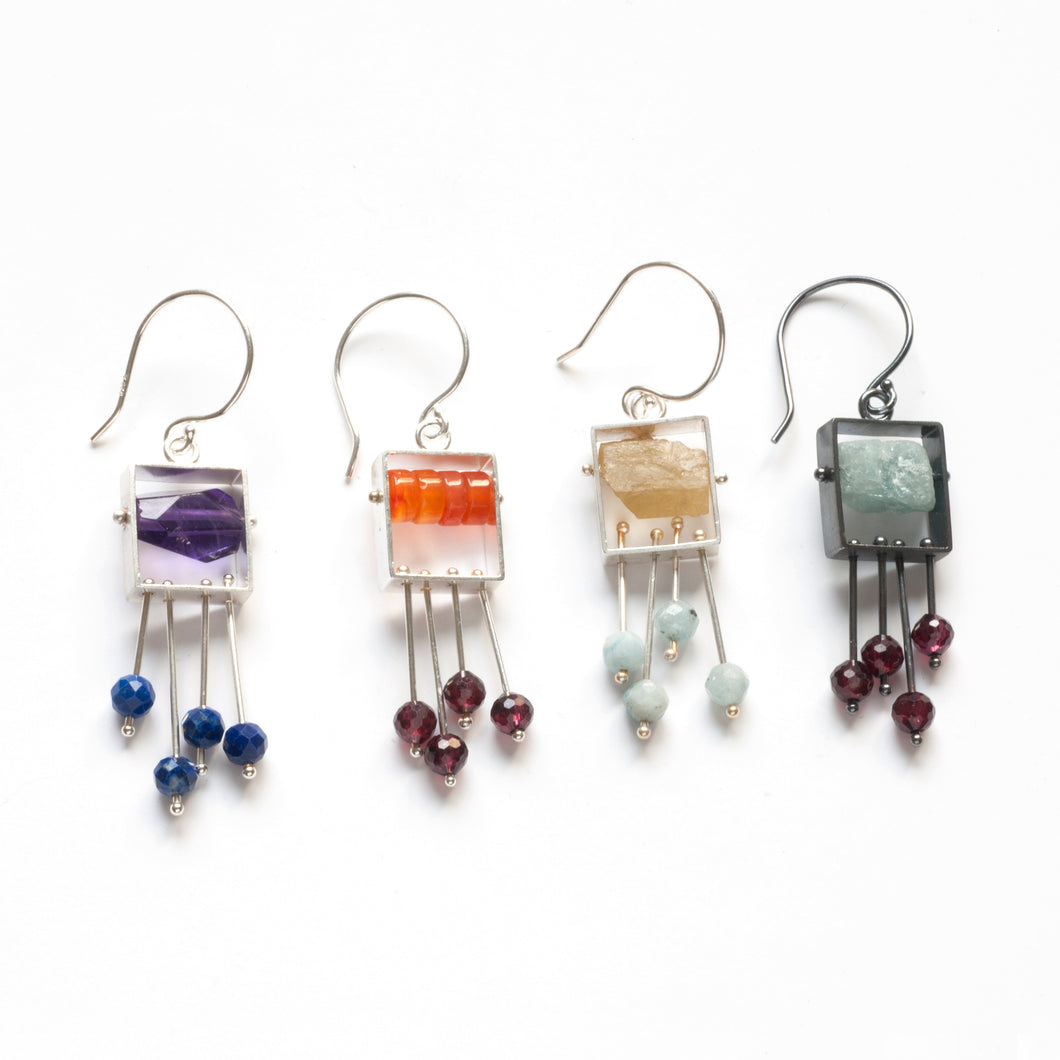 SRJ35SE - Rectangle Earrings with top stone(s) and a fringe