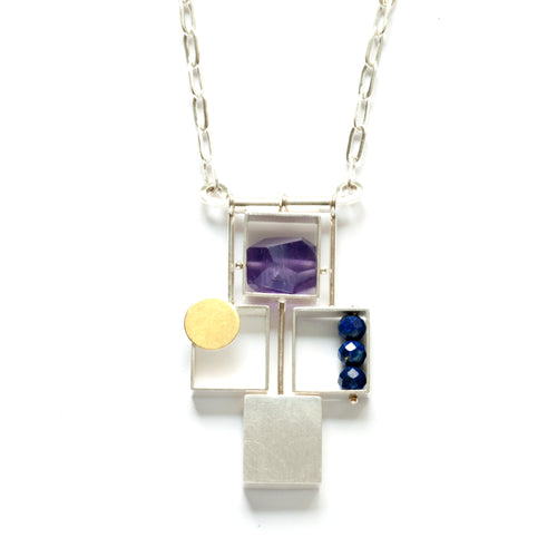 Four Rectangles Necklace with Gold Dot and Stones