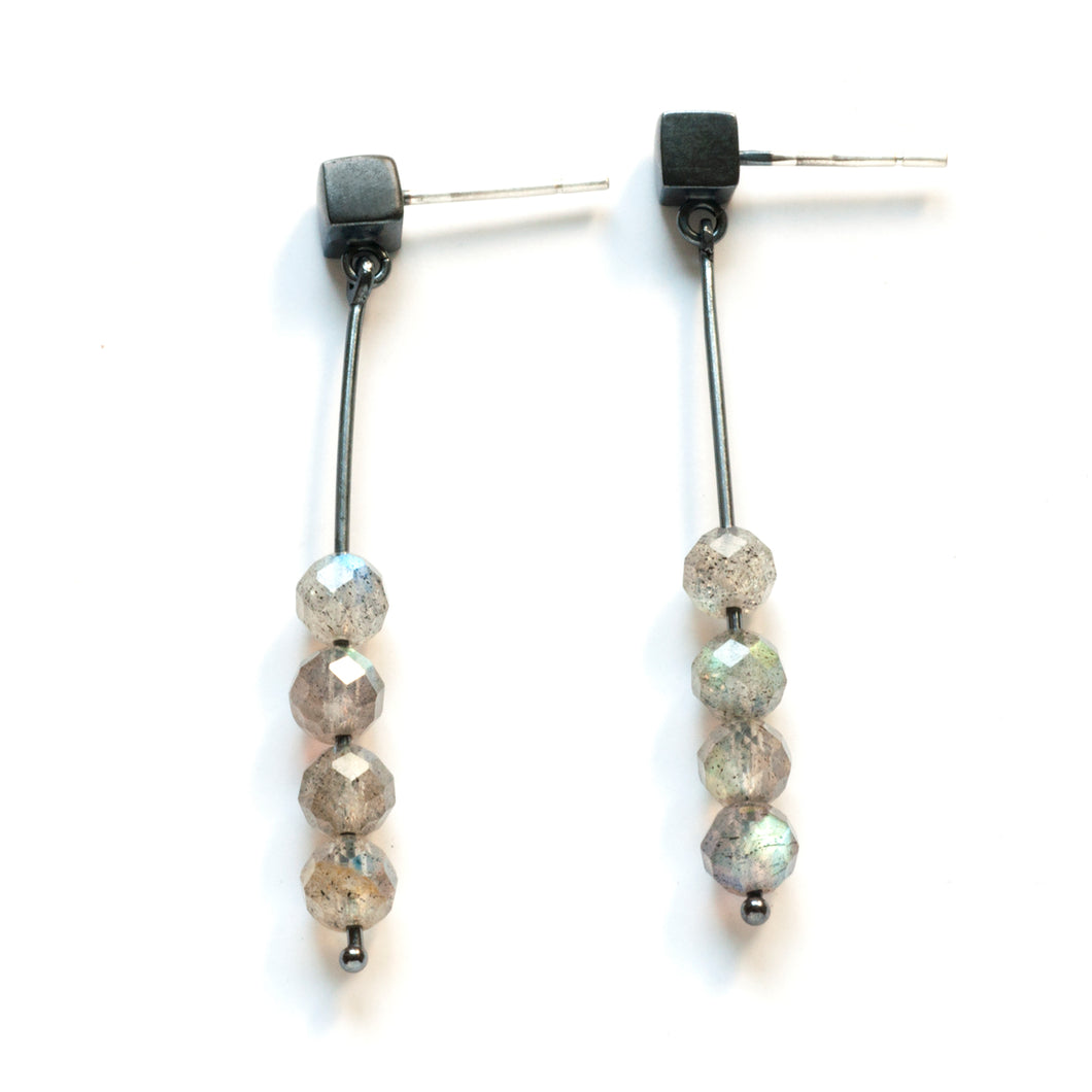 Long Drop Earrings with Round beads, post