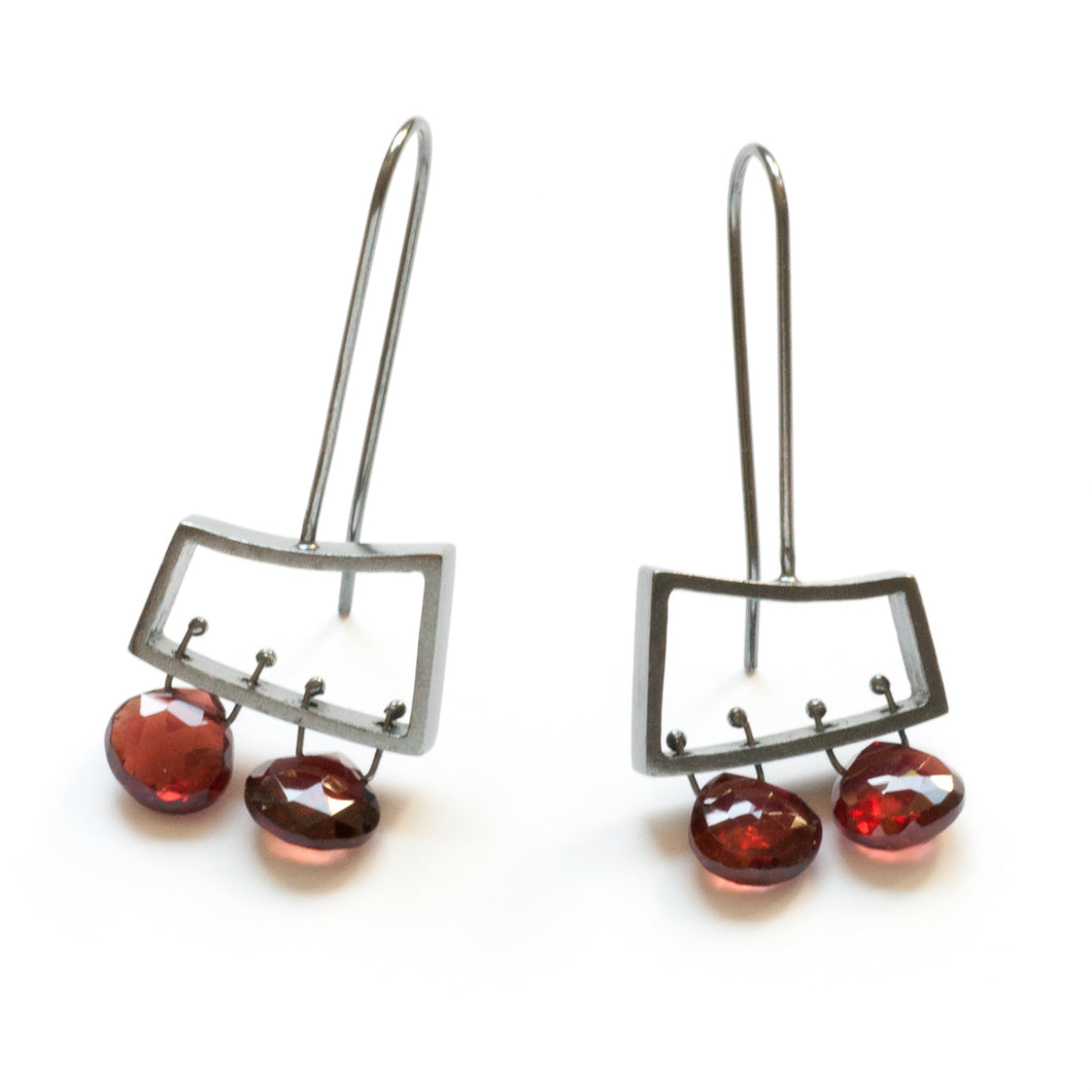 Short Wedge Earrings, Horizontal with Briolettes