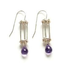 Vertical Round Cage Earrings with Teardrop Gemstones