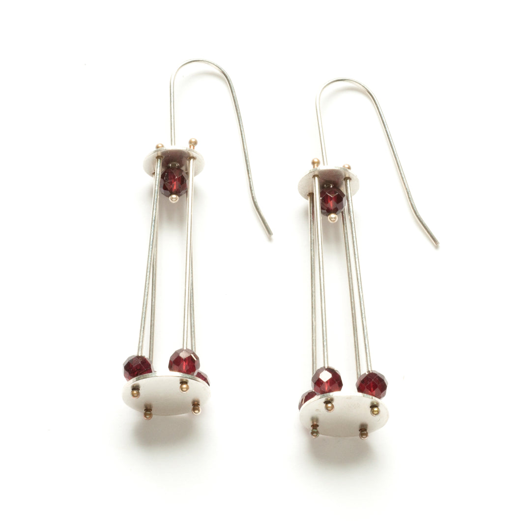 Long Cage Earrings with Gemstone Beads