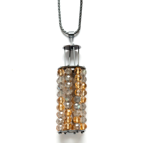 YD12N - Vertical Beaded cage necklace, Large