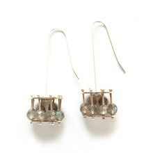 YD18E - Round Cage Earrings with Gemstone Beads
