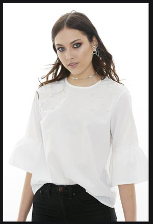 Pearl embellished cotton top
