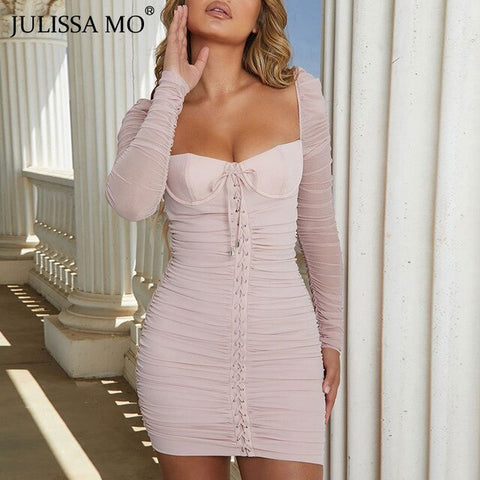 Mesh Ruched Summer Dress