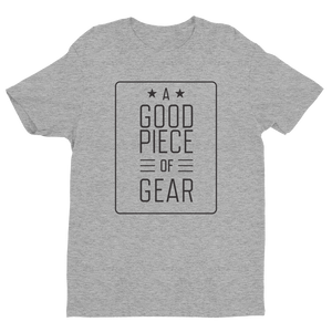 Men's A Good Piece of Gear Premium Fitted Short-Sleeve Heather Gray Crew Neck T-Shirt
