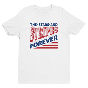 Men's Stars and Stripes Forever White Crew Neck Short Sleeve T-Shirt