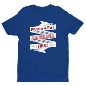 Men's Proud to Put America First White Crew Neck Short Sleeve T-Shirt