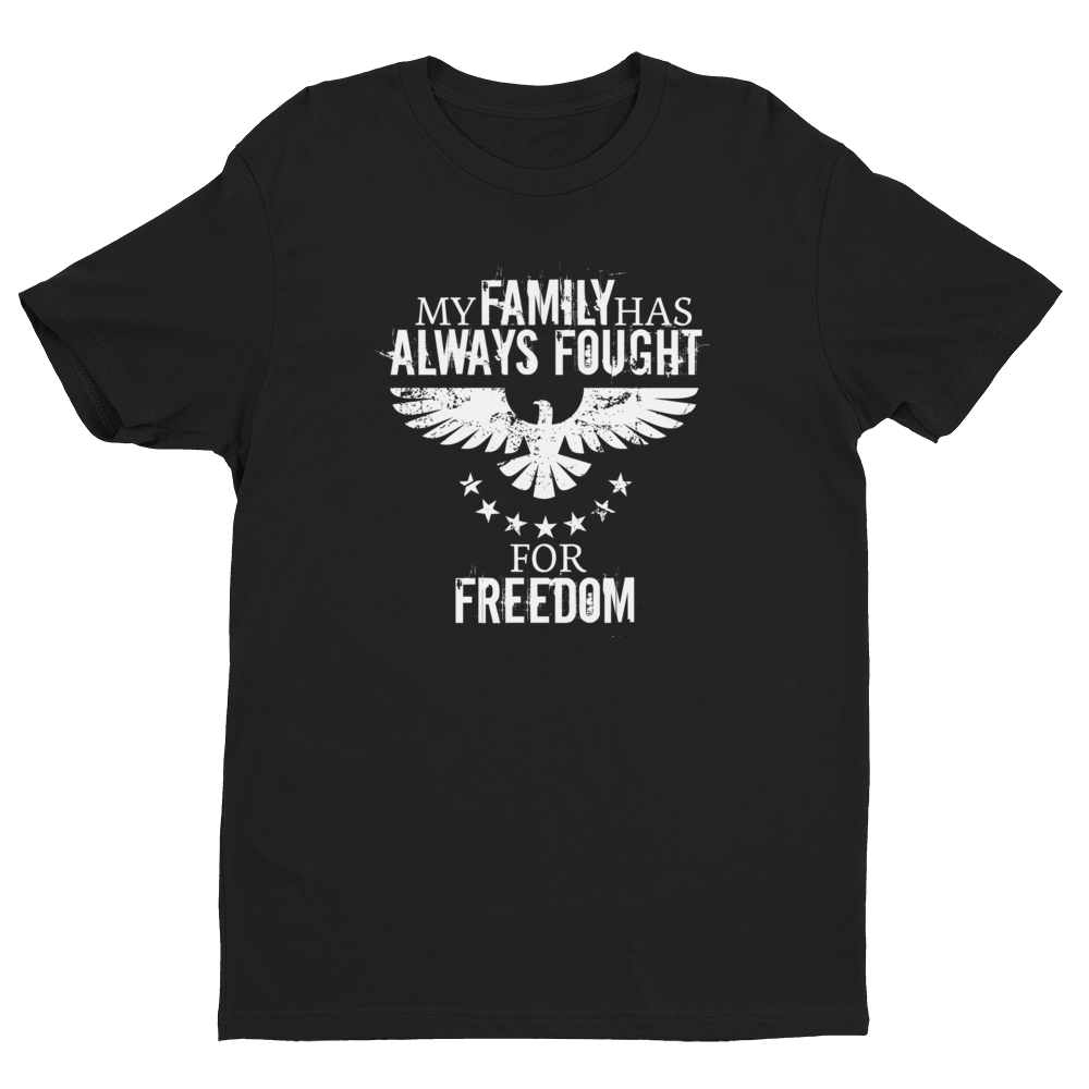Men's Family Always Freedom Black Crew Neck Short Sleeve T-Shirt