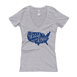 Women's Land that I Love White V Neck Short Sleeve Tee