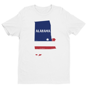 Men's Alabama USA White Crew Neck Short Sleeve T-Shirt