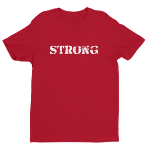 Men's STRONG Red Crew Neck Short Sleeve T-Shirt