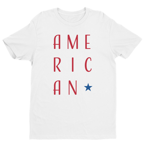 Men's American White Crew Neck Short Sleeve T-Shirt