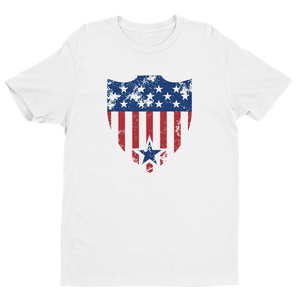 Men's American Shield White Crew Neck Short Sleeve T-Shirt