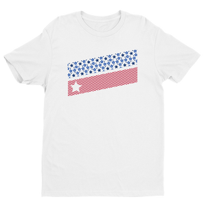 Men's Stars and Stripes White Crew Neck Short Sleeve T-Shirt