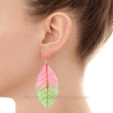 Real Leaf Jewelry Earring (Green / Pink)
