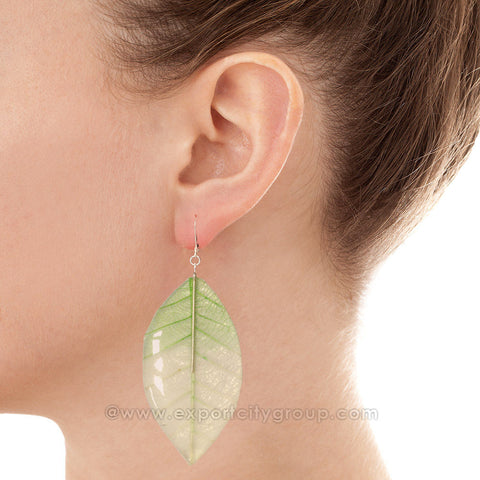 Real Leaf Jewelry Earring (Green / Clear)