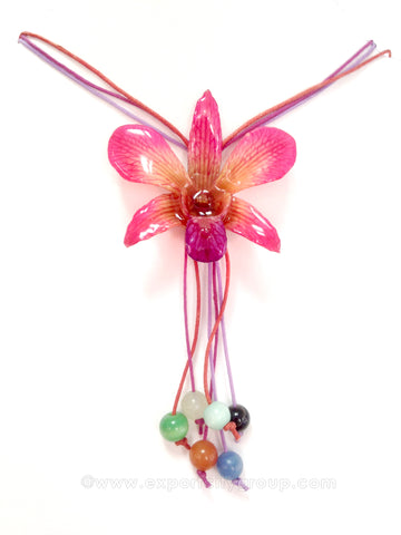 "Lucy ""Dendrobium"" Orchid Bead Necklace (Pink)"
