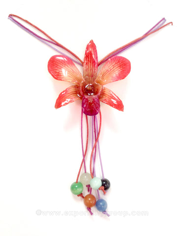 "Lucy ""Dendrobium"" Orchid Bead Necklace (Red Scarlet)"