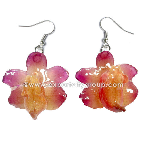 Aerides Odorata Orchid Jewelry Earring NATURAL (Pink Fuchsia)
