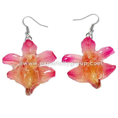 Aerides Odorata Orchid Jewelry Earring (Pink)