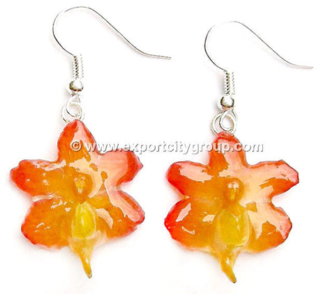 Aerides Odorata Orchid Jewelry Earring (Yellow)