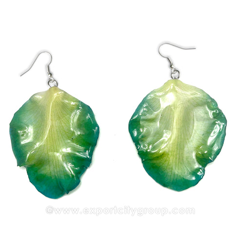 Cattleya Orchid Jewelry Petal Earring (Green Blue)