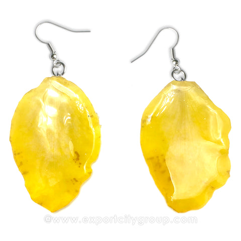 Cattleya Orchid Jewelry Petal Earring (Yellow)