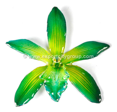 Cymbidium (1) Orchid Jewelry Pendant (Dark Green)
