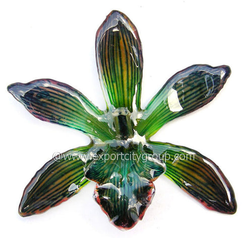 Cymbidium (1) Orchid Jewelry Pendant (Green Black)