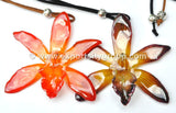 Cymbidium (2) Orchid Jewelry Pendant (Orange)