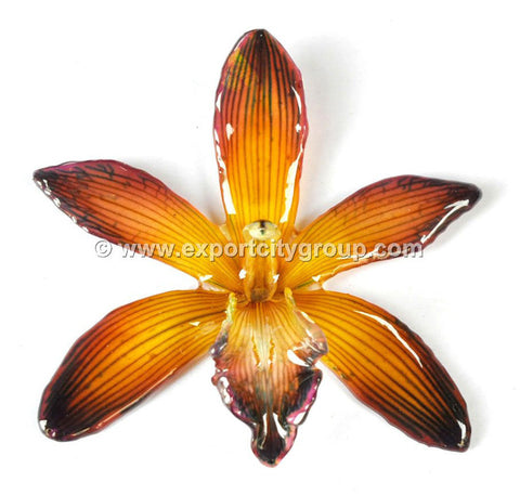 Cymbidium (1) Orchid Jewelry Pendant (Yellow Brown)
