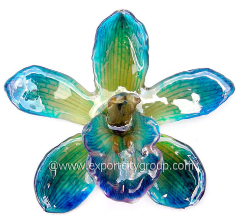 Cymbidium (2) Orchid Jewelry Pendant (Blue)