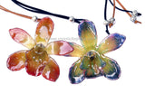 Cymbidium (2) Orchid Jewelry Pendant (Red 2 Tone)