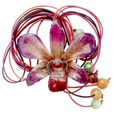 "Lucy ""Dendrobium"" Orchid Bead Necklace (Purple)"