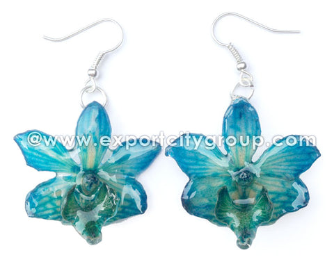 "Doritis ""Phalaenopsis"" Orchid Jewelry Earring (Blue)"
