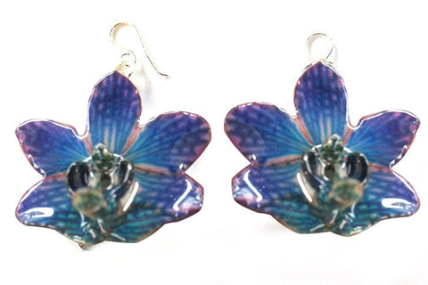 "Doritis ""Phalaenopsis"" Orchid Jewelry Earring (Navy Blue)"