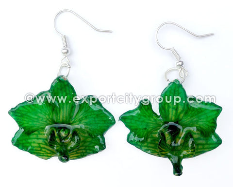"Doritis ""Phalaenopsis"" Orchid Jewelry Earring (Green)"